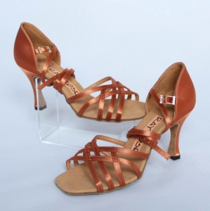 860 Kalahari Light Tan Satin UF rozmiar 4,5 UK obcas 3'' Flared